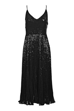 Topshop Pleated Sequin Midi Dress