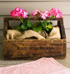 Far Above Rubies: Back porch living. Metal Tool Box, Wooden Tool Boxes, Mason Jar Lanterns, Mason Jars, Primitive Garden Decor, Everything Country, Raspberry Lemonade, Wooden Diy, Dream Garden