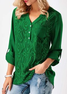 Women'S V Neck Green Solid Loose Casual Cuffed Long Sleeve Lace Panel Blouses Roll Tab Sleeve Lace Panel Asymmetric Hem Blouse Stylish Tops For Girls, Trendy Tops For Women, Blouses For Women, Women's Blouses, Women Tunic, Discount Womens Clothing, Lace Sheath Dress, Fashion Outfits, Womens Fashion