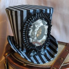 Steampunk Top Hat - Grey and Black Stripes -