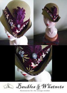 Fur Felt Cloche with Antique Ribbonr  BY MAUREEN SWIERTZ #HatAcademy #millinery