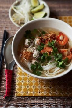 Phnom Penh Noodle Soup recipe - Many years ago, I visited Cambodia and fell in love with the country, its people, architecture, the exotic and absolutely delicious cuisine. Serve this delightful soup immediately with lime wedges and extra bean sprouts on the side. #cambodian #soup