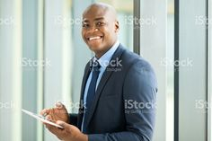 young african american businessman using tablet pc royalty-free stock photo