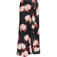 GANNI Wrap-effect floral-print satin maxi skirt (£250) ❤ liked on Polyvore featuring skirts, floor length skirt, long floral skirts, long ruffle skirt, satin skirt and long wrap around skirt