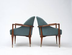 Classic Mid-Century Modern Lounge Chairs | From a unique collection of antique and modern armchairs at https://www.1stdibs.com/furniture/seating/armchairs/