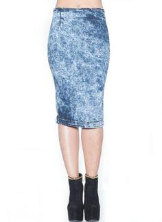 High Waisted Denim Pencil Skirt in Light Blue<br/><div class='zoom-vendor-name'>By <a href=http://www.ustrendy.com/SoHoGirl>SoHo Girl</a></div>