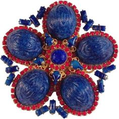 Preowned William De Lillo 1971 Blue And Red Brooch ($425) ❤ liked on Polyvore featuring jewelry, brooches, red, cabochon jewelry, pre owned jewelry, red jewelry, red jewellery and red brooch