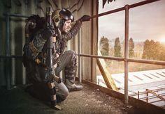 Post apocalyptic scavenger. Full costume designed by Dust Monkey. Wasteland Warrior
