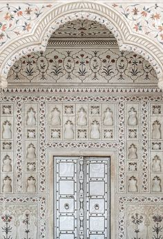 Traditional style ceramic mosaic with floral pattern in an old muslim mosque, The tomb of Itimad-Ud-Daula, Agra, India