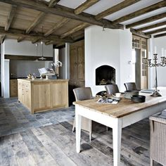 LOVE. maybe favorite - dining table, oak kitchen, perhaps lacanche fontenay, beamed ceilings, ancient tiled and planked floors