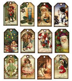 Vintage Printable Christmas Tags | Christmas Vintage ArT Hang/Gift Tags Santa…