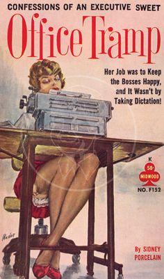 Office Tramp - Giclée Canvas Print of Vintage Pulp Paperback Pulp Fiction Kunst, Pulp Fiction Book, Pulp Novel, Comics Vintage, Vintage Poster, Serpieri, Vintage Book Covers, Pulp Magazine, Book Cover Art