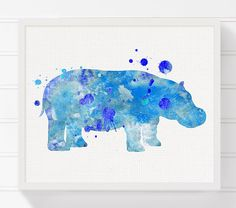 Watercolor Hippo Painting Hippo Art Print Hippo by MiaoMiaoDesign