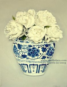 Still Life - White Peonies in a Ming Vase . . . . .11x14 Original OIL Painting by LARA Ginger Jar. $275.00, via Etsy.
