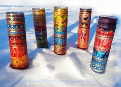 Bohemian Henna Mehndi Mexican Prayer Candle Red Blue by Behennaed, $25.00