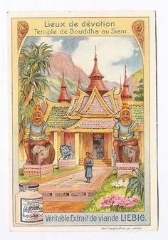 Siam - Temple de Bouddha  - Lieux de dévotion - Chromo Liebig - Trade Card