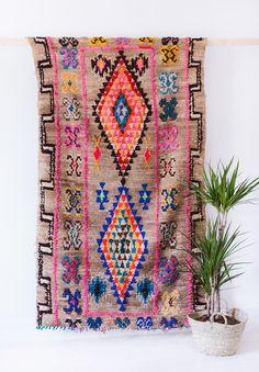 "Vintage Moroccan Boucherouite Ourika Rug ""The Nico"" Berber Rug Brown Rug Geometric Pattern Colorful Rug Bohemian Boho Rug () by LoomAndField"