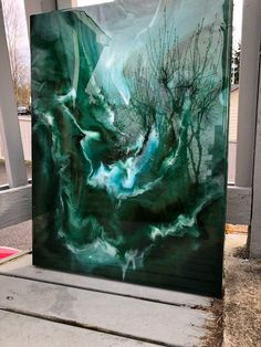 Green Sea: Original Abstract Resin Art Painting - This painting comes from my heart. It is a swirl of dark pearlescent greens, white, with metallic g - Large Canvas Art, Abstract Canvas, Painting Abstract, Painting Canvas, Green Canvas Art, Diy Canvas, Acrylic Pouring Art, Acrylic Art, Epoxy Resin Art
