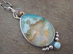 Regency rose plume agate statement necklace - labradorite necklace - larimar necklace - multi stone necklace - large necklace - blue stone
