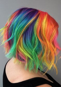 Rainbows give me so much life 😍I achieved this look using all VIVIDS for the color 🎨 brazilianbondbuilder for the protection& shine 💎 & for my tools 💕. Short Rainbow Hair, Pelo Multicolor, Color Fantasia, Corte Bob, Pretty Hair Color, Hair Color Highlights, Mermaid Hair, Dream Hair, Pretty Hairstyles