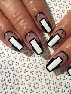 Black and white transparent nails @thefreshestnailart