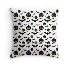 Halloween pumpkins and bats pattern throw pillows by mrhighsky on redbubble