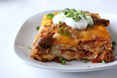 Mexican Lasagna-i'd like to try this with corn tortillas