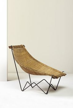 John Risley, Painted Wrought Iron, Cane and Wood Lounge Chair, c1952.