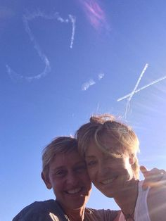 Pin for Later: Ellen DeGeneres and Portia de Rossi Have the Look of Love Down Portia surprised Ellen for their sixth wedding anniversary with skywriting in August 2014.