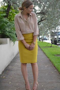 Fashionable Work Outfit: Yellow skirt and light camel blouse