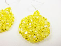 Yellow Beaded Earrings Bright Yellow Jewelry Sunshine Lemon Sterling Silver by Jalycme on Etsy https://www.etsy.com/listing/95764419/yellow-beaded-earrings-bright-yellow