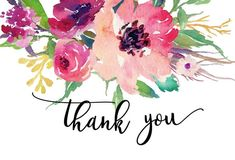 Items similar to Bright Pink Floral Watercolor Flower Thank You Note, Floral Thank You, Flat Thank You Card, Thank you Note, printable thank you on Etsy Body Shop At Home, The Body Shop, Thank You Notes, Thank You Cards, Thank You Typography, Thank You Images, Senegence Makeup, Watercolor Flowers, Watercolour