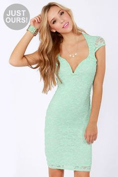 LULUS Exclusive Lace Your Bets Mint Green Lace Midi Dress at LuLus.com! Another cute engagement photo dress