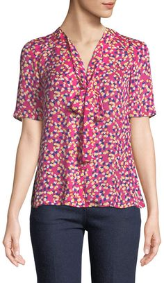 9d19db9870a4a1 Carolina Herrera Tie-Neck Short-Sleeve Confetti-Print Silk Blouse
