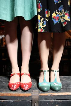 Miss L Fire retro vintage inspired t bar and ankle strap shoes in red and teal