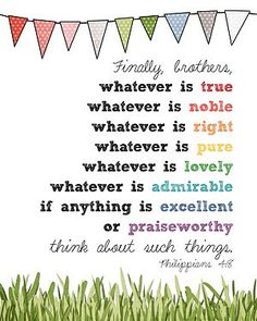 Think on These Things printable - make this for my Sunday School room! Free!