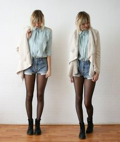 denim shorts and tights