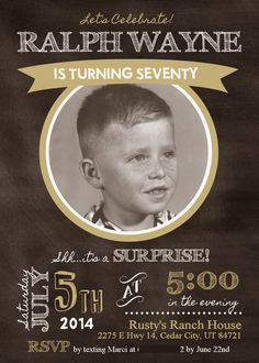 Invitation designed by Invitation Station . My dad turns the big 7 - 0 this year. {I still cannot believe he's that old! Chuckle...