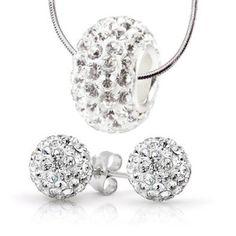 Charm Set Necklace Stud Earrings Stainless Steel, 8mm Earrings Swarovski Crystal Ball, White Swarovski Crystal Bead Necklace - 3 Pieces