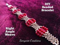 Right Angle Weave Beaded Bracelet. Beaded Bracelets Tutorial, Beaded Bracelet Patterns, Earring Tutorial, Beading Patterns, Embroidery Bracelets, Loom Patterns, Loom Beading, Handmade Bracelets, Beading Tutorials
