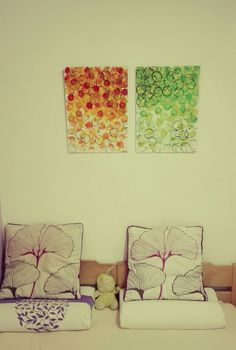 #art #rings #lemon #orange #green #yellow #black #abstract #acrylic Picture in bedroom happy idea!
