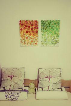 #art #rings #lemon #orange #green #yellow #black #abstract #acrylic Picture in bedroom happy idea!