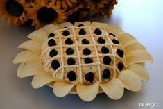 Cheese ball ( Like a Sun Flower ) with black olives, thin lines of cream cheese, and Pringles chips Finger Food Appetizers, Appetizer Recipes, Aperitivos Finger Food, Cute Food, Yummy Food, Cheese Ball, Canapes, Savoury Dishes, Party Snacks