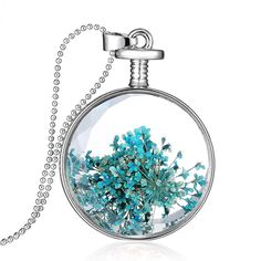 Souarts Womens Silver Tone Color Round Blue Dried Pressed Flower Charm Pendant Necklace 60cm * Special discounts just for this time only  : Women's Fashion for FREE