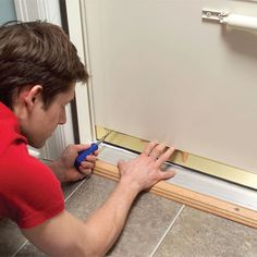 Stop drafts and save energy by adjusting the bottom sweep on your exterior doors. It usually takes less than five minutes. Maybe at halftime. Home Improvement Projects, Home Projects, Energy Projects, Home Renovation, Home Remodeling, Screen Door Repair, Screen Doors, Front Doors, Door Sweep