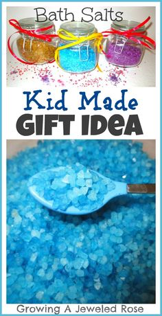 Bath Salts- a homemade gift idea that is fun for kids to make. E - had a blast making this same sort of gift last Christmas for the special gals in her life!  Great way for kiddos to really get involved with the spirit of Christmas.