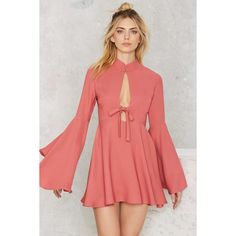 Nasty Gal Fool For You Bell Sleeve Dress ($88) ❤ liked on Polyvore featuring dresses, pink, pink evening dress, pink cocktail dress, special occasion dresses, red cocktail dress and pink dress