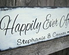 Happily Ever After Starts Here - Vintage Shabby Chic Distressed - Personalized Wedding Sign, Bridal sign, Photo prop, Reception , Mr & Mrs,
