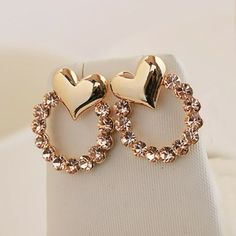 New Sparkling Heart With Crystal Alloy With 14K Gold Plated Women's Stud Earrings