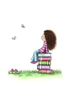Girl and Books - DAYDREAMING  - 5x7 Art Print. $12.00, via Etsy.